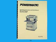 "Powermatic Model 209 & 209HH  20"" Planer Operating  Instruct & Parts Manual *276"