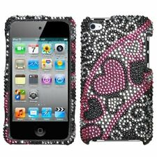 iPod Touch 4th Gen - CRYSTAL DIAMOND BLING CASE COVER PINK SILVER STREAM HEART