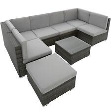 Groupe de sièges en rotin jardin poly rotin 6 sièges 1 tabouret 1 table gris
