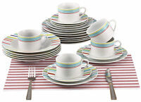 Renberg Fine Porcelain 29 Piece Striped Dinner Set Plates Bowls Cups & Saucers