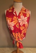 Womens TOMMY BAHAMA Sleeveless Tie Front Floral Blouse Top Small EUC 100% SILK
