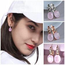 Fashion Women Teardrop Earrings Pink Hibiscus Stone Gemstone Wedding Jewelry