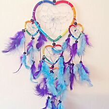 Rainbow Heart Dream Catchers - Purple Blue Feathers Dreamcatchers Kids Bedroom