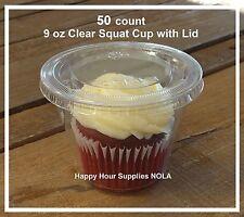 50-pack TAKE n' GO 9 oz Plastic Snack, Cupcake, Parfait Squat Cup w/ Flat Lid
