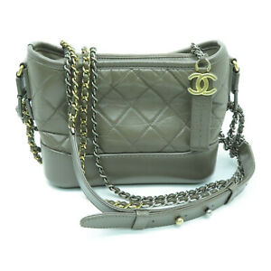 Chanel Quilted CC Gabrielle Small Hobo Bag Calfskin Leather Grey 0101