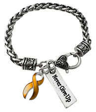Yellow Cancer Ribbon Never Give Up Inspirational Antique Silver Charm Bracelet