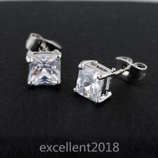 Women Silver Gold 7 mm Square Clear Black Cubic Zircon Stud Earrings