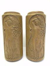 Antique Paire Ancienne Sculpté Bois Décoratifs Nu Femme Cornucopia Lampe Bases