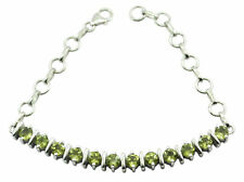 Green 925 Sterling Silver Natural charming Peridot suppiler Bracelet AU
