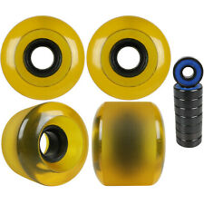 Longboard Cruiser Wheels Set 59mm x 46mm 83a Translucent Yellow Usa Made Abec 7