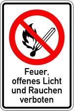 Schild PVC Feuer, offenes Licht und Rauchen verboten 300x200mm