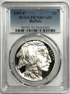 2001 $1 Buffalo Silver Commemorative Dollar PCGS PR70DCAM