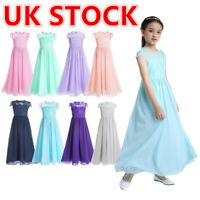 Flower Girl Lace Cap Sleeve Bridesmaid Dress Formal Wedding Party Ball Prom Gown