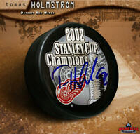 TOMAS HOLMSTROM Signed 2002 Stanley Cup Champions Puck - Detroit Red Wings