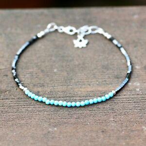 Skinny Natural Turquoise and Hematite Bracelet Sterling Silver 925  December