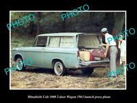 OLD LARGE HISTORIC PHOTO OF 1963 MITSUBISHI COLT 1000 WAGON LAUNCH PRESS PHOTO