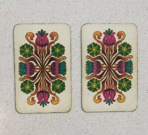 Pair Of Vintage Playing Cards, Retro, Flowers, Pattern