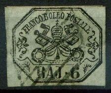 Stato Pontificio 1852 Sass. 7a Usato 80% firmato Cardillo grigio perla