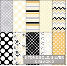 3 TONE GOLD, SILVER & BLACK PATTERNS 2 SCRAPBOOK PAPER - 10 A4 PAGES