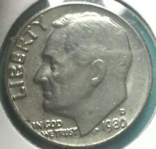1980 D ROOSEVELT DIME WITH DOUBLING On DATE, In God We TRUST, LIBERTY #1