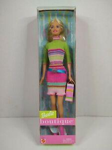 Barbie Boutique Doll 2002 Mattel #56431 NRFB Blonde, Green Pink Blue Dress