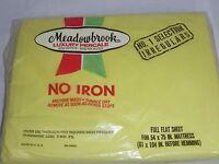 NOS Vtg Meadowbrook Full Flat Percale Sheet Yellow Irregular Unopened 50/50