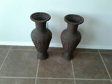 "Two Tall Floor Vases 24"" Big Brown Woven Hyacinth Decorative Elegant Home Decor"