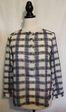 SUSSAN ~ 8 White Black Blue Geometric Print Lightweight Cotton Tunic Top Blouse