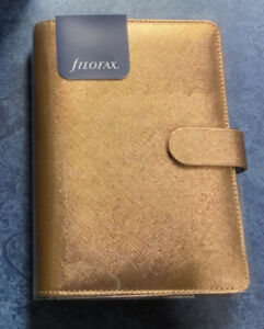 Filofax Saffiano Personal Organiser With Slip Pocket Rose Gold Faux Leather