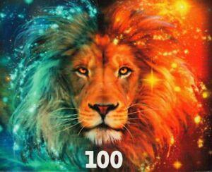"""Glow In The Dark """"LEO"""" Zodiac Lion Fantasy 100 Pieces BOXLESS Jigsaw Puzzle 100%"""