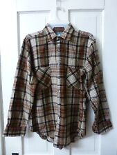 Oakland Outdoors Mens M Brown Flannel Long Sleeve 100% Cotton Button Front Shirt