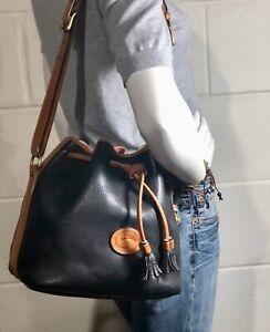 Vintage DOONEY & BOURKE Black AWL Leather Drawstring Bucket Purse Hand Bag