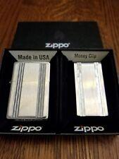 Zippo Vertical Diamond Cut Set. Zippo and moneyclip.