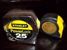 2 Heavy Duty Tape Measures Stanley Powerlock 25' 33-425 & 16' Both w/ Belt Clips