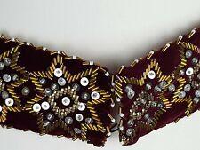 Vintage sequin Beaded Velvet Burgundy Waist Band Belt Boho gypsy 85cm