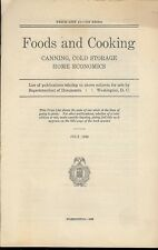1930  List of publications relating to Food and Cooking, Canning with price list