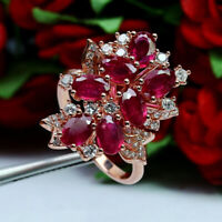 NATURAL 4 X 6 mm. OVAL RED RUBY & WHITE CZ RING 925 STERLING SILVER SZ 7.75