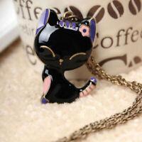 Damen Katze Halskette Vintage Schwarze Kitty Anhänger Collier Schmuck Geschenk