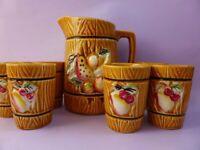 Cute Japanese Ceramic Juice Jug & Drinking Cups Set, 1950s Vintage Barware