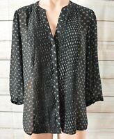 H & M Shirt Top Blouse Size Us 16 Black White Three-quarter Sleeve