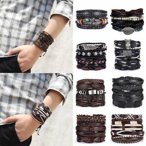 Vintage Men Multiple Layers Leather Bracelet Set Charm Wood Beads Wrap Bracelets