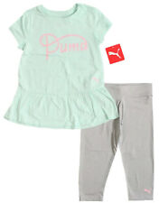 2-Pc PUMA Little Girl Size 5 or 6 Crop/Capri Legging Set Aqua Green Tunic Shirt