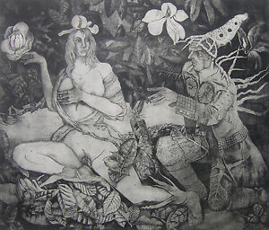 """Temptations Under Magnolia Tree"" copper etching  Henryk Fantazos, edition 100,"