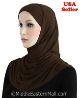 Khatib 2 Pc Cotton Amira Hijab # 7 Brown underscarf CAP Two  Pc Al-amira Hijab