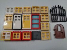 LEGO LOT OF 12 NEW 1 X 4 X 6 WHITE WINDOW FRAMES AND TRANS-LIGHT BLUE DOORS