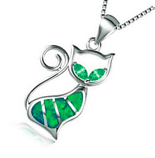 Woman Fashion 925 Silver Jewelry Cat Fire Opal Charm Pendant Necklace Chain NEW