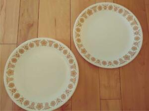 SET OF TWO CORELLE BUTTERFLY GOLD DINNER PLATES GOOD