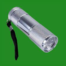 9 LEDs d'Urgence Lumière Blanche Camping Voyage Argent Lampe de poche Torche