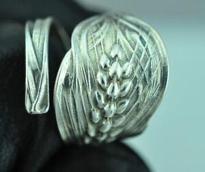 Beautiful 925 Sterling Silver Wheat Ear Flower Spoon Ring