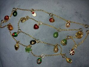 Joan Rivers Jewelry Gold Tone Imperial 19 Charms Eggs Necklace